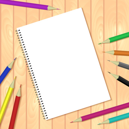 bound: Spiral bound notepads and pen. Vector template or mock up. Easy to place your image on the cover.Top view.