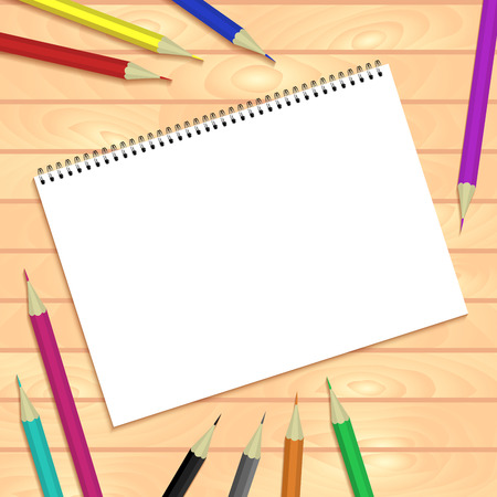 Spiral bound notepads and pen. Vector template or mock up. Easy to place your image on the cover.Top view.