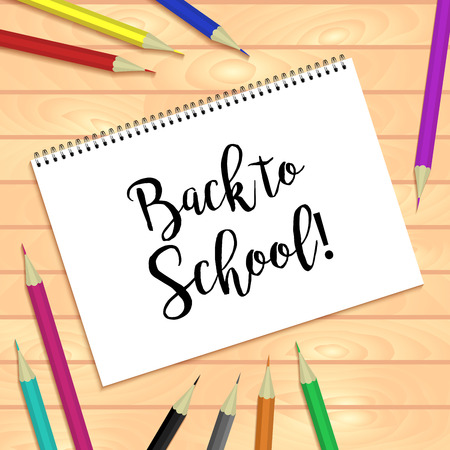 bound: Spiral bound notepads and pen. Vector horizontal template or mock up. Back to school inscription. Easy to place your image on the cover.Top view.