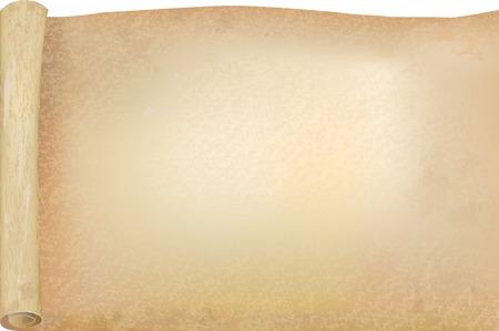 Vélin ou de papyrus ouvert scroll, vecteur de fond ou modèle maquette pour la conception de la mode rétro. Fermer