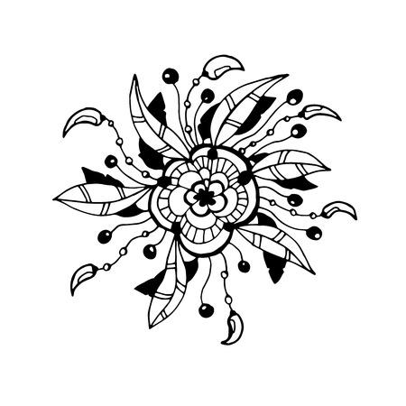 Ethnic decorative element with feathers. Islam, Arabic, Indian, ottoman motifs. Boho style. Mono color black line art