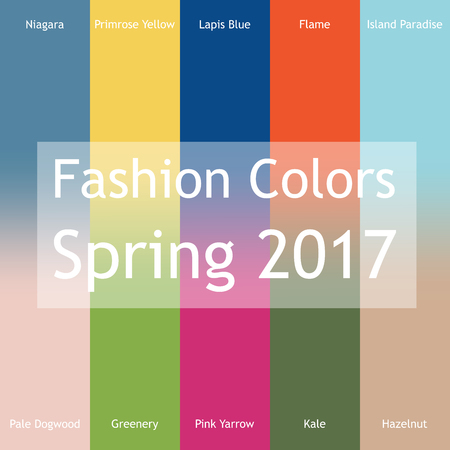 island paradise: Blurred fashion infographic with trendy colors of the 2017 Spring. Niagara, Primrose Yellow, Lapis Blue,Flame,Island Paradise,Pale Dogwood,Greenery,Pink Yarrow,Kale,Hazelnut. Gradient mesh infographic