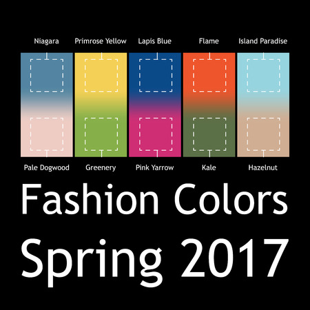 greenery: Blurred fashion infographic with trendy colors of the 2017 Spring. Niagara, Primrose Yellow, Lapis Blue,Flame,Island Paradise,Pale Dogwood,Greenery,Pink Yarrow,Kale,Hazelnut. Gradient mesh infographic