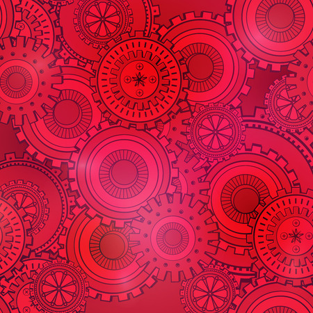 Fashionable red and pink gearwheels technology backdrop. Vintage wallpaper with mechanism. Steampunk style, vector background