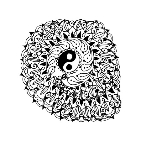 Mono color black line art element for adult coloring book page design. Floral collection. Ethnic zentangle ornament with om religion symbol