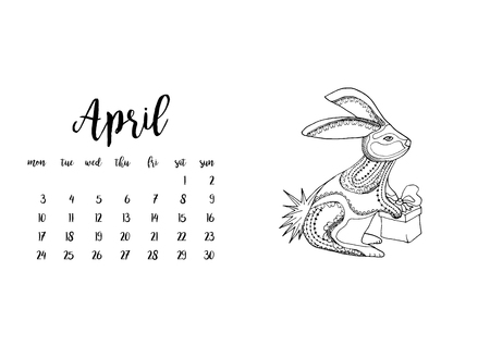 desk calendar: Desk calendar horizontal template 2017 for month April. Week starts Monday