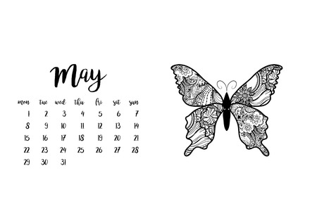 Desk calendar horizontal template 2017 for month May. Week starts Monday