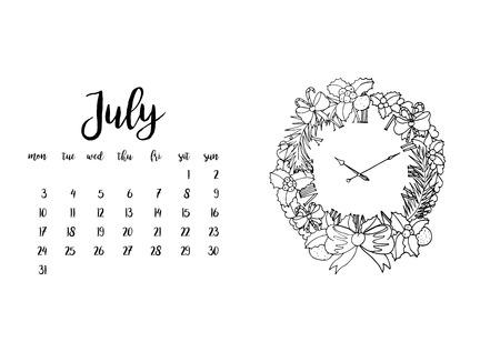 desk calendar: Desk calendar horizontal template 2017 for month July. Week starts Monday