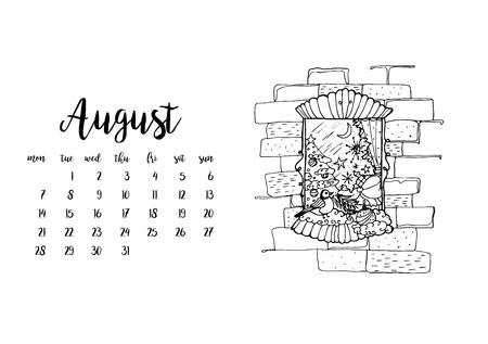desk calendar: Desk calendar horizontal template 2017 for month August. Week starts Monday