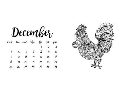 desk calendar: Desk calendar template for month December with doodle stylized rooster animal. Week starts Monday Illustration