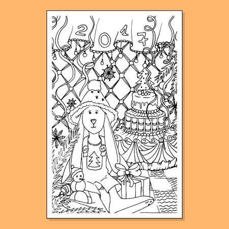 Adult coloring book page. Mono color black ink illustration, vector art. Xmas or Merry Christmas vertical postcard rabbit in new year interior. Vector illustration
