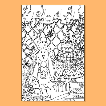 a6: Adult coloring book page. Mono color black ink illustration, vector art. Xmas or Merry Christmas vertical postcard rabbit in new year interior. Vector illustration