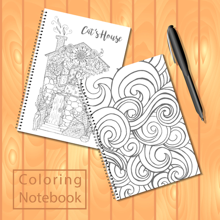 Spiral Bound Notepads Or Coloring Book With Pen And Pages Pictures Wavy Cover