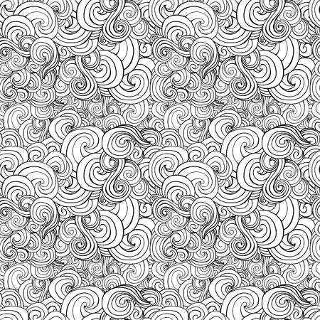 big waves: Big seamless pattern with black and white stylized curls and waves for fabric textile design, pillow or wrapping. Vector illustration