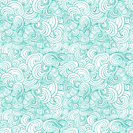 big waves: Big seamless pattern with turquoise or blue stylized curls and waves for fabric textile design, pillow or wrapping. Vector illustration