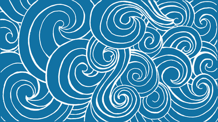 website header: Horizontal header for website with blue waves and white contour. Vector illustration