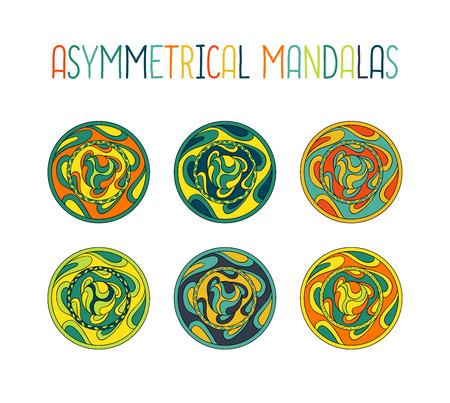 asymmetrical: Asymmetrical colorful mandala design set with drops in a circle geometric shape. Simple logotype for yoga school