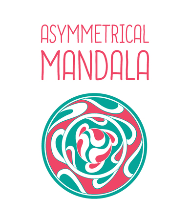 asymmetrical: Asymmetrical pink and blue mandala design with drops in a circle geometric shape. Simple logotype for yoga school Illustration