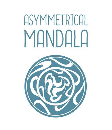 asymmetrical: Asymmetrical blue mandala design with drops in a circle geometric shape. Simple logotype for yoga school