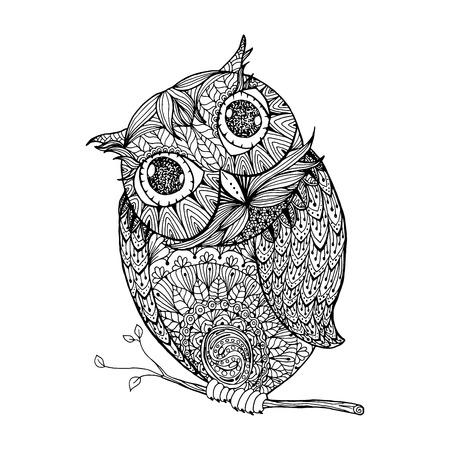 Zentangle style owl. Isolated illustration with ornanets fill for adult coloring book page design, antistress ink drawing