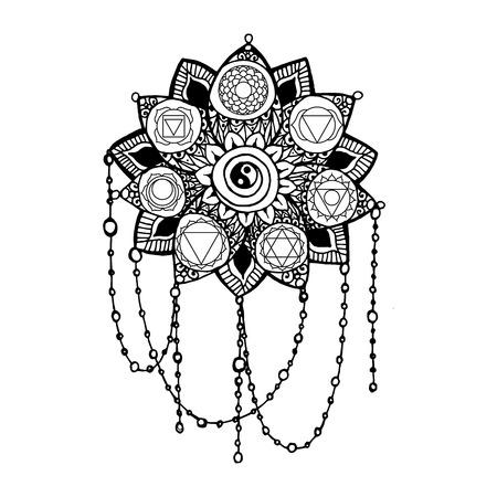 vishuddha: Doodle style monochrome black line art lotus with yoga chakras pictogram. Vector illustration for print design, adult coloring page template