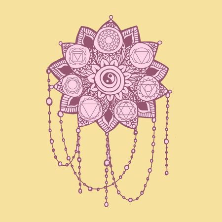 Doodle style pink and yellow line art lotus with yoga chakras pictogram.Vector illustration for print design Illustration