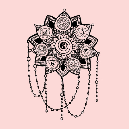 Doodle style black and pink line art lotus with yoga chakras pictogram and hieroglyph.Vector illustration for print design