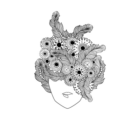 hair feathers: Concept line art with stylized ladies hair with feathers and technology elements, gear-wheels. Woman fashion face. Can be used for barbershop logo design or adult anti stress coloring page