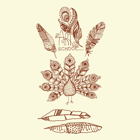 Decorative line art doodle style tribal feathers and peacock set Illustration