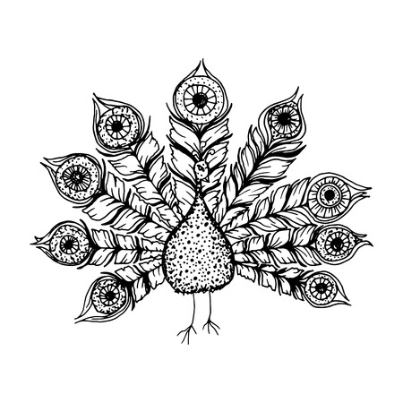 Decorative black line art doodle style tribal peacock Illustration