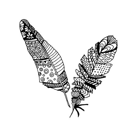 feathering: Decorative black line art doodle style tribal feathers Illustration