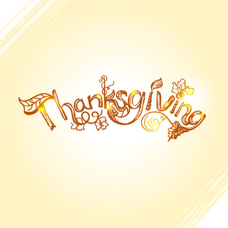 hand lettering: Thanksgiving hand lettering design with hand drawn rough sketch golden inscription