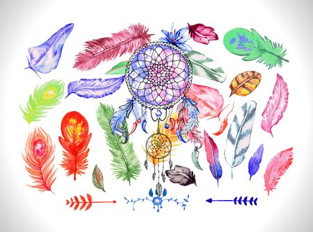 softly: Dreamcatcher on the colorful feathers background