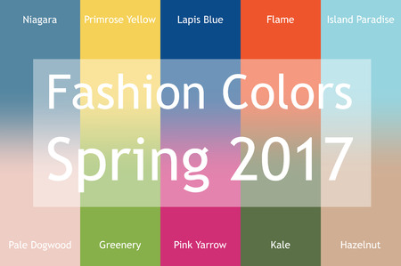 pale yellow: Blurred fashion infographic with trendy colors of the 2017 Spring