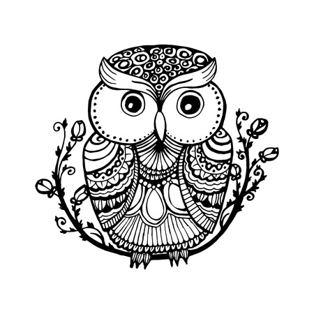 Owl isolated illustration with ornaments fill for adult coloring book page design