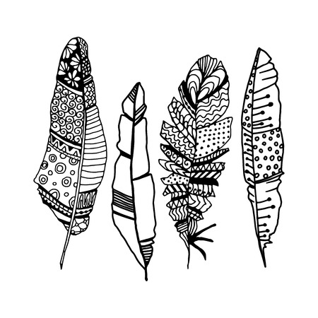 Decorative black line art doodle style tribal feathers Illustration