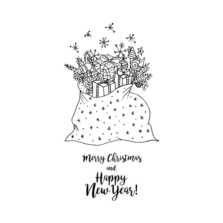 mono print: Black mono color illustration for Merry Christmas and Happy New Year 2017 print design. Illustration