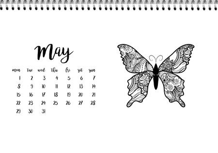 desk calendar: Desk calendar horizontal template 2017 for month May. Week starts Monday