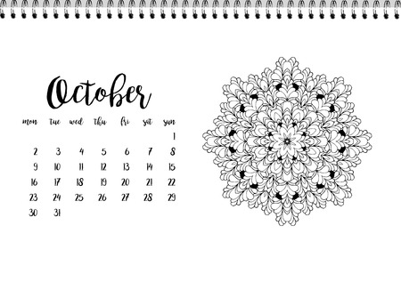 desk calendar: Desk calendar horizontal template 2017 for month October. Week starts Monday