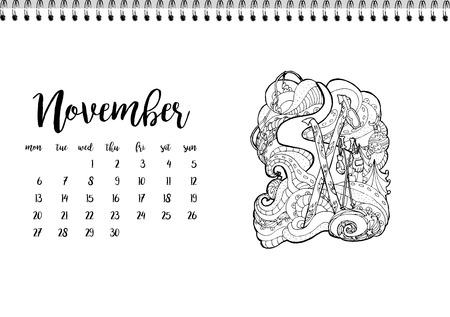 desk calendar: Desk calendar horizontal template 2017 for month November. Week starts Monday Illustration