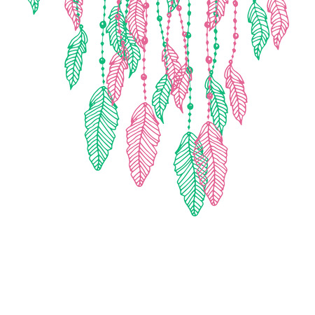 softly: Hanging pink and turquoise or blue stylized doodle feathers, isolated on white.