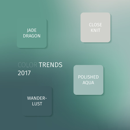 jade: Airy Blue, Sharkskin, jade dragon, close knit, wanderlust, polished aqua - trendy fashion colors of the year 2017. Abstract background with infographic. Vector illustration