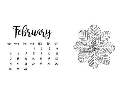 desk calendar: Desk calendar horizontal template 2017 for month February. Week starts Sunday