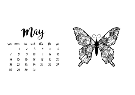 Desk calendar horizontal template 2017 for month May. Week starts Sunday