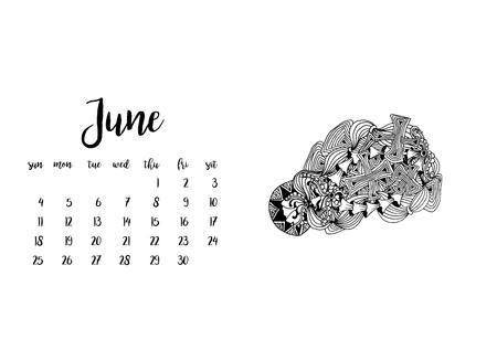 desk calendar: Desk calendar horizontal template 2017 for month June. Week starts Sunday