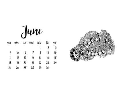 Desk calendar horizontal template 2017 for month June. Week starts Sunday