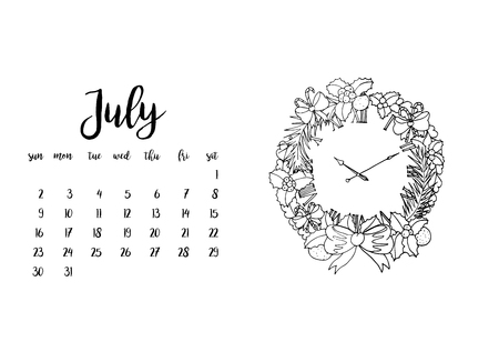 Desk calendar horizontal template 2017 for month July. Week starts Sunday Illustration