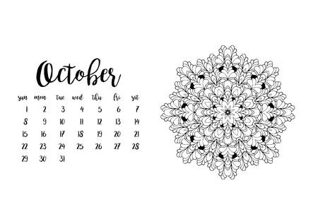 desk calendar: Desk calendar horizontal template 2017 for month October. Week starts Sunday Illustration
