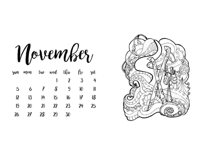 desk calendar: Desk calendar horizontal template 2017 for month November. Week starts Sunday