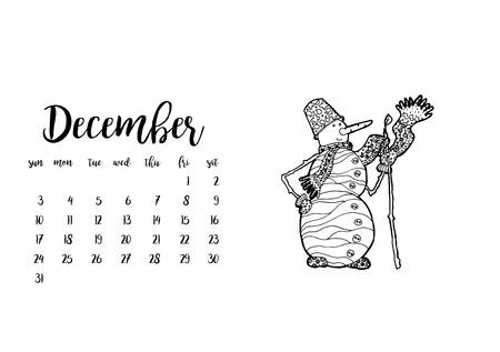 desk calendar: Desk calendar horizontal template 2017 for month December. Week starts Sunday